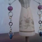 Orecchini oro, argento e viola